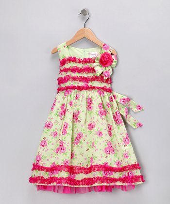 Light Green & Pink Floral Dress - Infant & Toddler