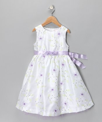 White & Lilac Flower Dress - Infant