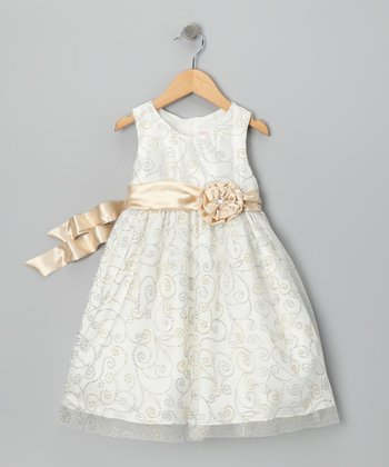 Light Beige Rosette Dress - Infant, Toddler & Girls