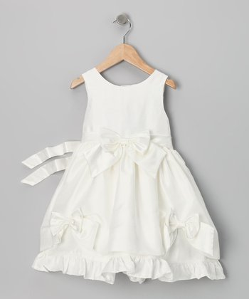 Light Beige Bow Dress - Toddler