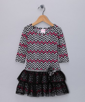 Black & Pink Zigzag Dress - Infant, Toddler & Girls