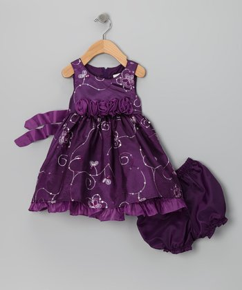 Purple Rosette Sequin Dress & Boomers - Infant