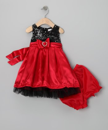Red & Black Sequin Bow Dress & Bloomers - Infant