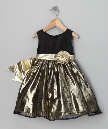 Black & Gold Rosette Dress - Toddler