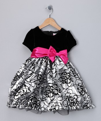 Black & Silver Flower Dress - Infant & Toddler