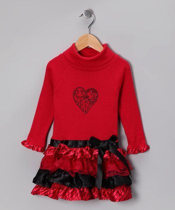 Red & Black Ruffle Turtleneck Dress - Toddler & Girls