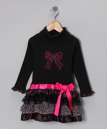 Black Ruffle Turtleneck Dress - Toddler
