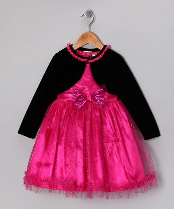 Dark Pink Dress & Black Bolero - Toddler