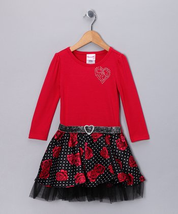 Red Rose Dress - Toddler