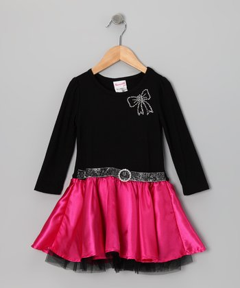 Black & Fuchsia Bow Dress - Toddler