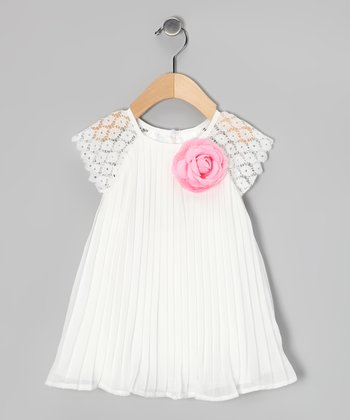 White & Pink Pleated Rose Dress & Diaper Cover - Infant