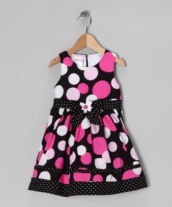Dark Pink Polka Dot Dress & Bolero - Toddler