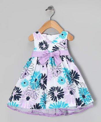 Pastel Purple & Blue Floral Dress Set - Infant