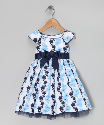Blue Floral Bow Dress - Infant