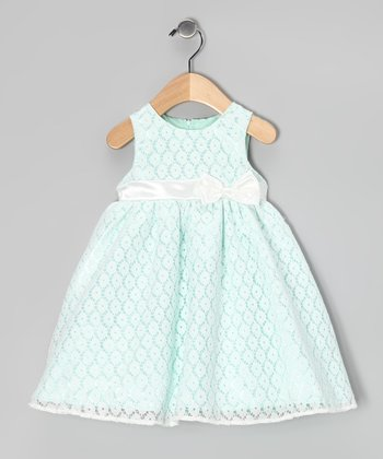 Green Bow Dress & Diaper Cover - Infant