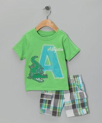 Green 'Alligator' Tee & Shorts - Infant