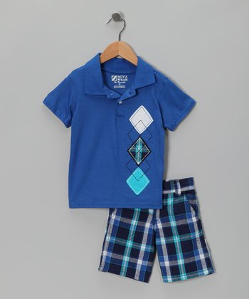 Blue Plaid Polo & Shorts - Infant