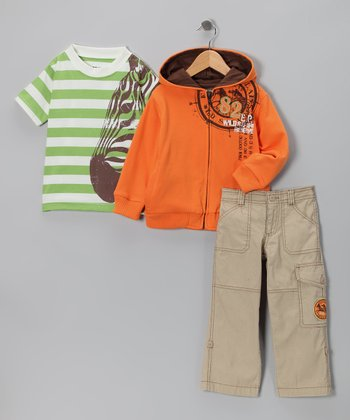 Orange & Green Zebra Zip-Up Hoodie Set - Toddler