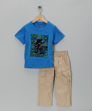 Blue 'Prehistoric Rock' Tee & Pants - Toddler