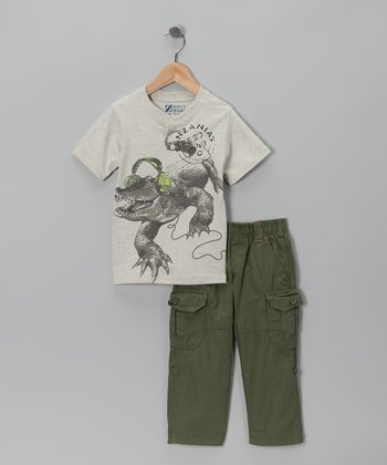 Gray Headphones Henley & Pants - Toddler