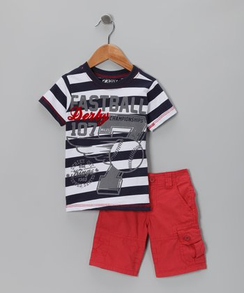 Navy Stripe Tee & Shorts - Infant