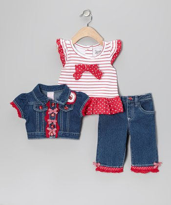 Red Stripe Denim Shrug Set - Infant