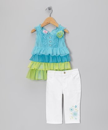 Teal Tiered Ruffle Tunic & Pants - Infant