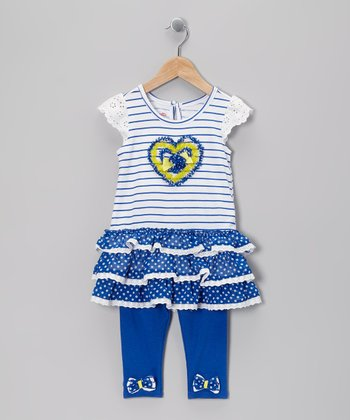 Blue Stripe Heart Tunic & Leggings - Infant, Toddler & Girls