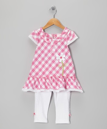 Pink Plaid Tunic & Leggings - Toddler