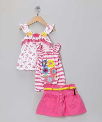 Pink Stripe Floral Skirt Set - Infant & Toddler