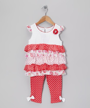 Red Ruffle Tunic & Leggings - Toddler
