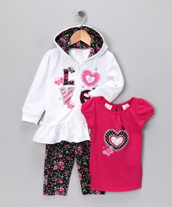 Fuchsia 'Love' Zip-Up Hoodie Set - Toddler