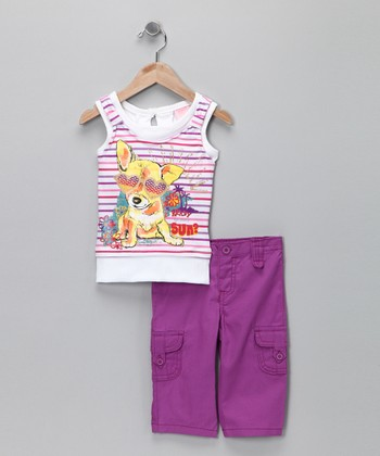 Nannette Purple Stripe Tank & Pants - Infant, Toddler & Girls