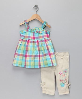 Nannette Blue Plaid Tank & Pants - Infant & Toddler