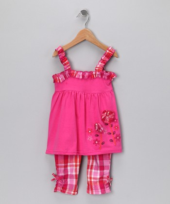 Pink Floral Babydoll Tunic & Pants - Toddler & Girls
