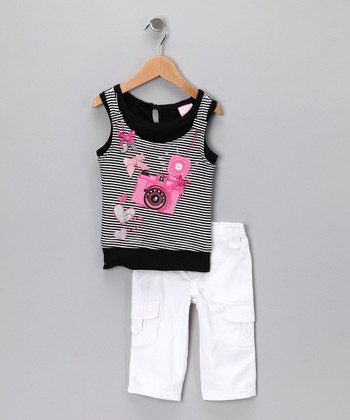 Black Stripe Camera Tank & Pants - Infant, Toddler & Girls