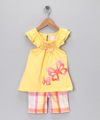 Yellow Butterfly Top & Shorts - Infant
