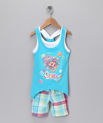 Blue Heart Sidetail Tank & Shorts - Toddler & Girls