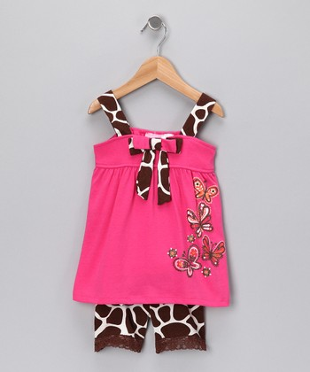 Coral Giraffe Tank & Shorts - Girls