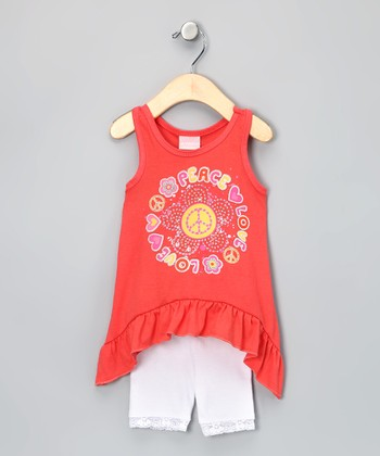 Orange 'Peace' Sidetail Tank & Shorts - Infant & Toddler