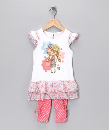 Nannette White Floral Girl Tunic & Leggings - Infant & Toddler