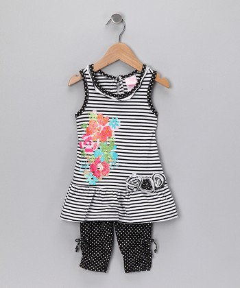 Black Stripe Rosette Tunic & Leggings - Infant