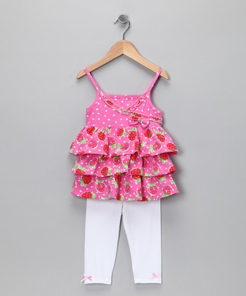 Pink Strawberry Tunic & Leggings - Toddler