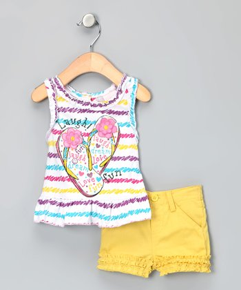 Yellow Stripe Flip-Flop Tank & Shorts - Infant