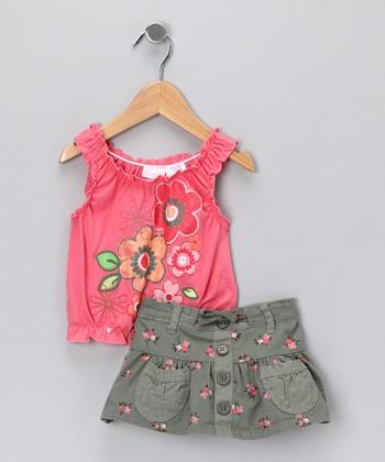 Nannette Coral Floral Tank & Skirt - Infant
