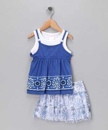 Blue Beaded Layered Tank & Skirt - Infant
