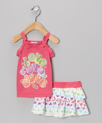 Bright Pink 'Love' Tank & Skirt - Infant