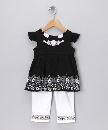 Black Floral Angel-Sleeve Top & Pants - Toddler