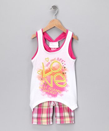 White 'Love' Sidetail Tank & Shorts - Toddler