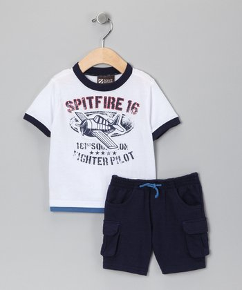 White 'Spitfire' Tee & Cargo Shorts - Infant